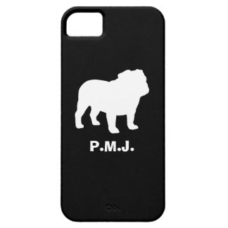 English Bulldog Silhouette with Custom Text iPhone 5 Case