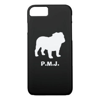 English Bulldog Silhouette with Custom Text iPhone 7 Case