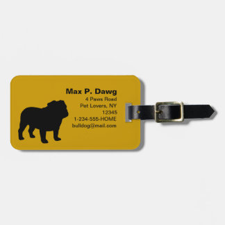 English Bulldog Silhouettes with Custom Text Luggage Tag