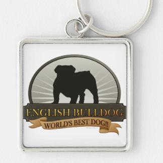 English Bulldog Silver-Colored Square Keychain