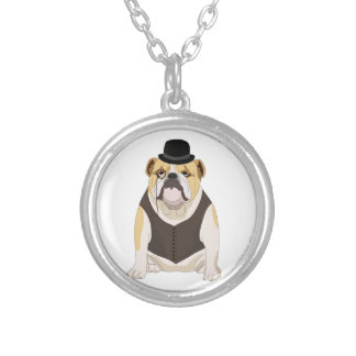English Bulldog Silver Plated Necklace