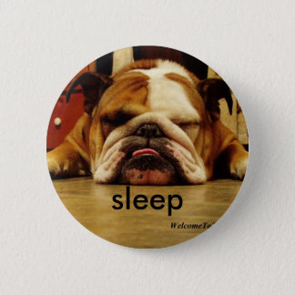 english-bulldog, sleep 2 inch round button