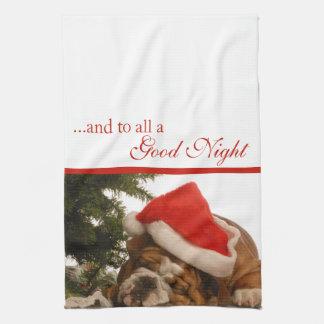 English Bulldog Snoozing Christmas Kitchen Towel