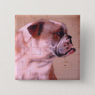 English Bulldog Street Art 2 Inch Square Button