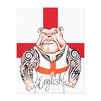English Bulldog Tribal Tattoos Wrapped Canvas