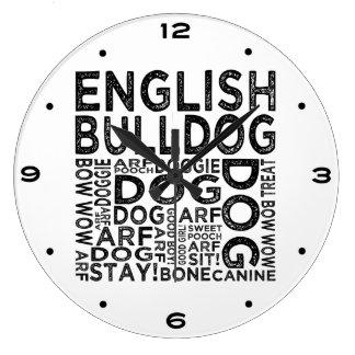 English Bulldog Typography Wallclock