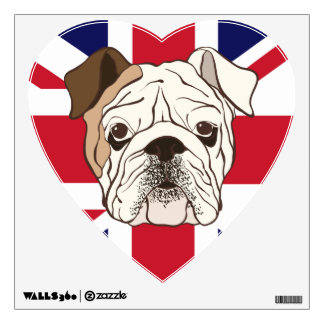 English Bulldog & Union Jack Heart Wall Decal