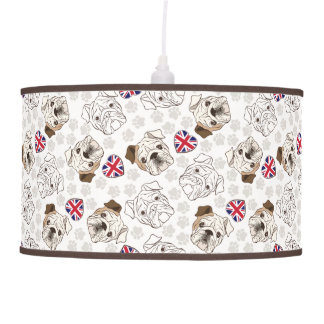 English Bulldog & Union Jack Pendant Lamp