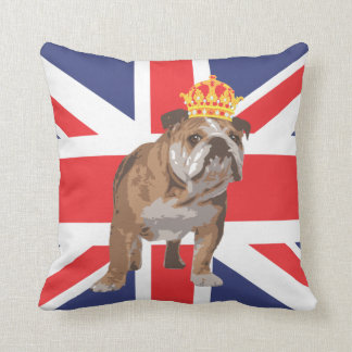English Bulldog with Crown and Union Jack Pillow