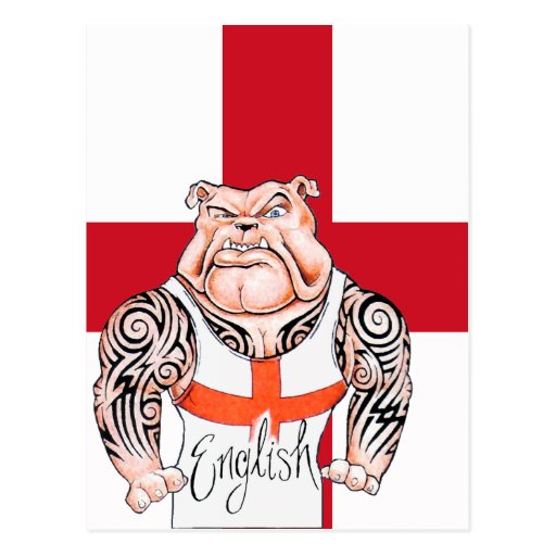 English Bulldog with Tribal Tattoo Post Card