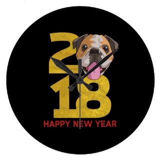 English bulldog Year of the Dog 2018 New Year Large Clock