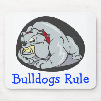 English Bulldogs Rule Cartoon Puppy Dog Mouse Pad