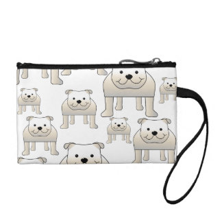 English Bulldogs, White. Dogs Pattern. Coin Purses