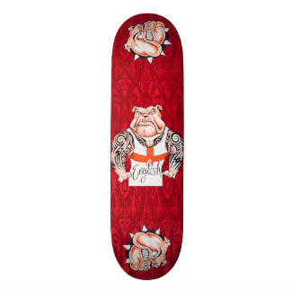 English Bulldogs with Tribal Tattoos Skate Board Deck