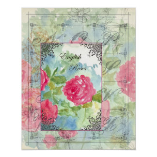 English Cabbage Roses Collage Watercolor Flowers Poster