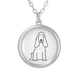 English Cocker Spaniel Dog Cartoon Silver Plated Necklace