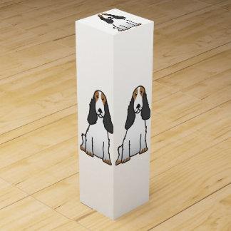 English Cocker Spaniel Dog Cartoon Wine Bottle Box