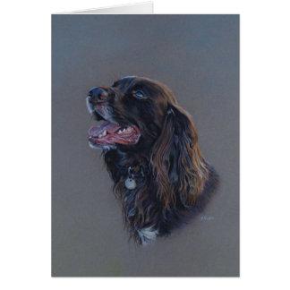 English Cocker Spaniel dog. Fine Art, Blank card. Card