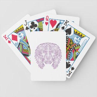 English Cocker Spaniel Dog Head Mono Line Bicycle Playing Cards