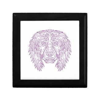 English Cocker Spaniel Dog Head Mono Line Gift Box