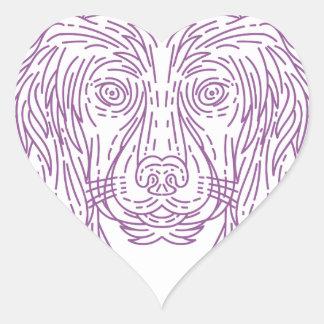 English Cocker Spaniel Dog Head Mono Line Heart Sticker
