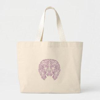 English Cocker Spaniel Dog Head Mono Line Large Tote Bag