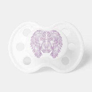English Cocker Spaniel Dog Head Mono Line Pacifier