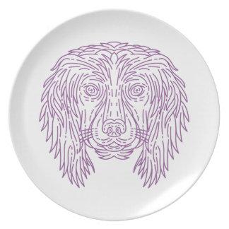 English Cocker Spaniel Dog Head Mono Line Party Plate