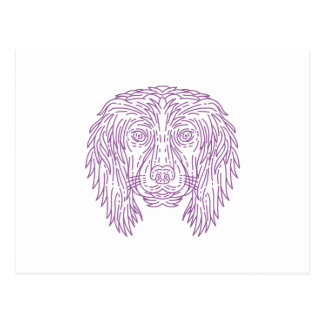 English Cocker Spaniel Dog Head Mono Line Postcard