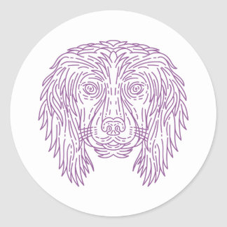 English Cocker Spaniel Dog Head Mono Line Round Sticker