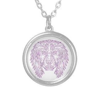 English Cocker Spaniel Dog Head Mono Line Silver Plated Necklace