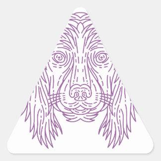 English Cocker Spaniel Dog Head Mono Line Triangle Sticker