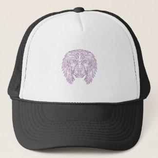 English Cocker Spaniel Dog Head Mono Line Trucker Hat