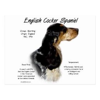 English Cocker Spaniel (parti/roan) History Design Postcard