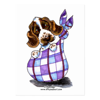 English Cocker Spaniel Sack Puppy Postcard