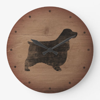 English Cocker Spaniel Silhouette Rustic Style Large Clock