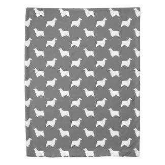 English Cocker Spaniel Silhouettes Pattern Grey Duvet Cover