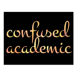 English CONFUSED ACADEMIC in Watercolor Postcard