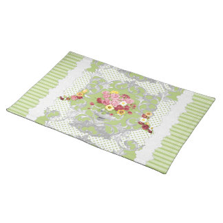 English Cottage Green Floral Urn w Stripes Place Mats
