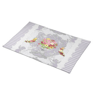 English Cottage Lilac Floral Urn w Stripes Place Mat