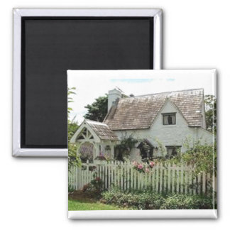 English Cottage Square Magnet