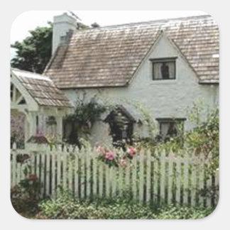 English Cottage Square Sticker