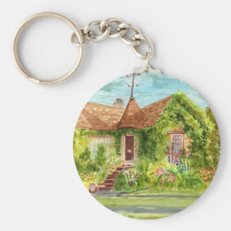 English Country Cottage Basic Round Button Keychain