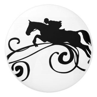English Equestrian Flourish Ceramic Knob