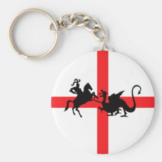 English flag George and the Dragon Basic Round Button Keychain
