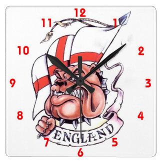 English Flag St Georges Cross  Bulldog Wall Clock