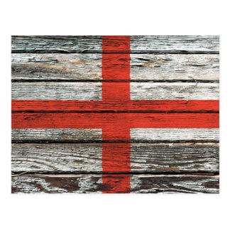 English Flag with Rough Wood Grain Effect Postcard