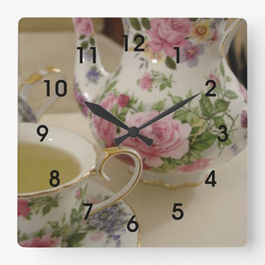 English Floral Teapot Teacup Wall Clcok Wall Clock