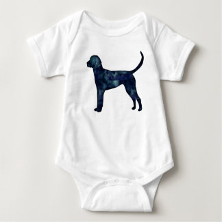 English Foxhound Black Watercolor Dog Silhouette Baby Bodysuit