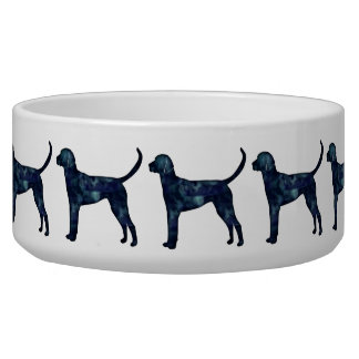 English Foxhound Black Watercolor Dog Silhouette Pet Food Bowl